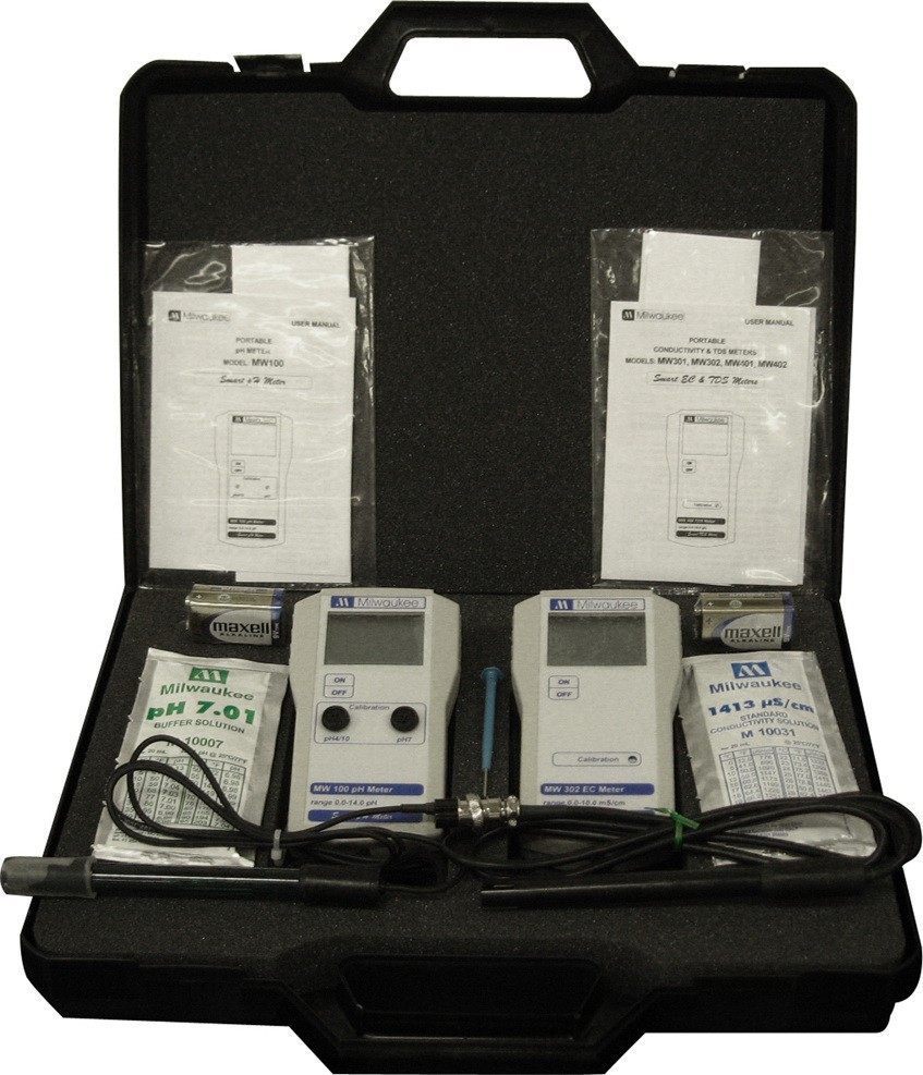 Milwaukee MW100+MW302 pH+EC monitory v kufříku